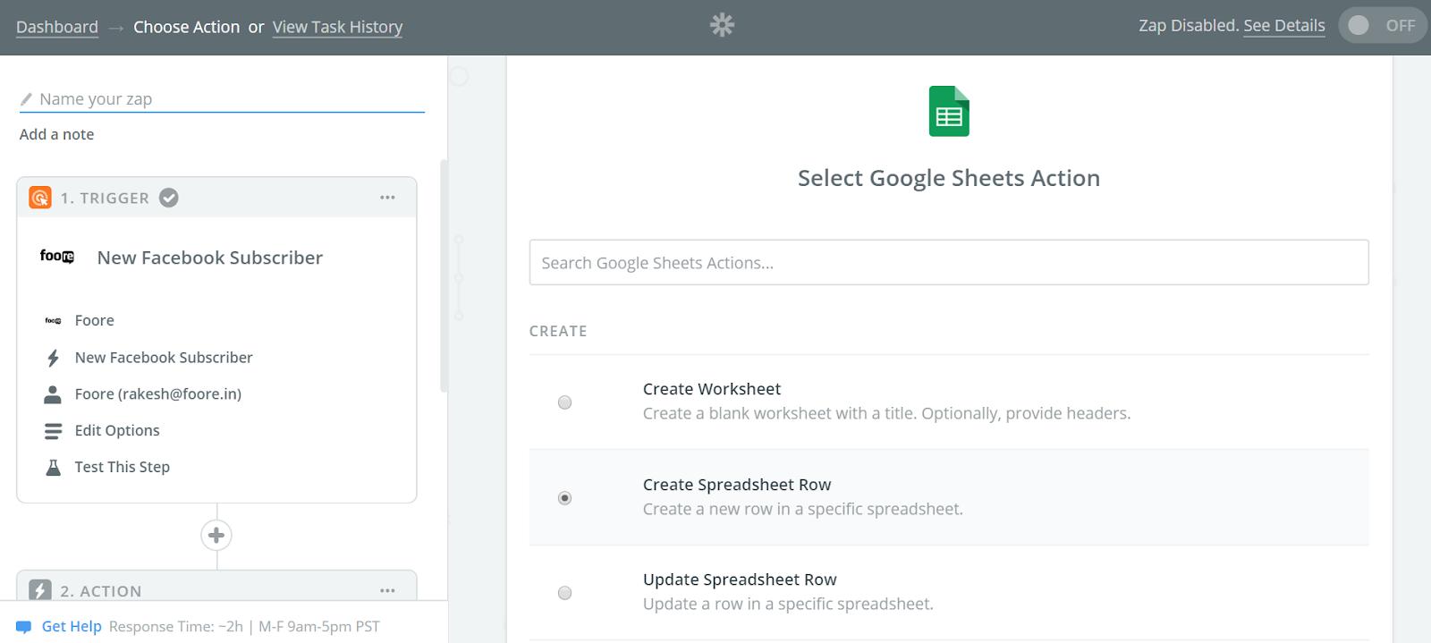 Foore Google Sheet Integration