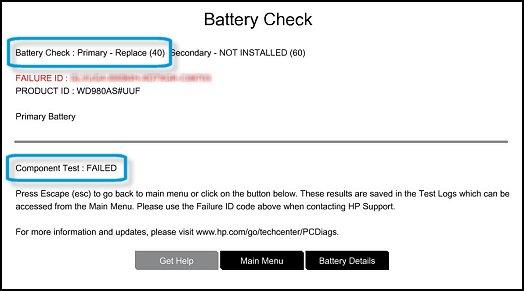 Failed battery check
