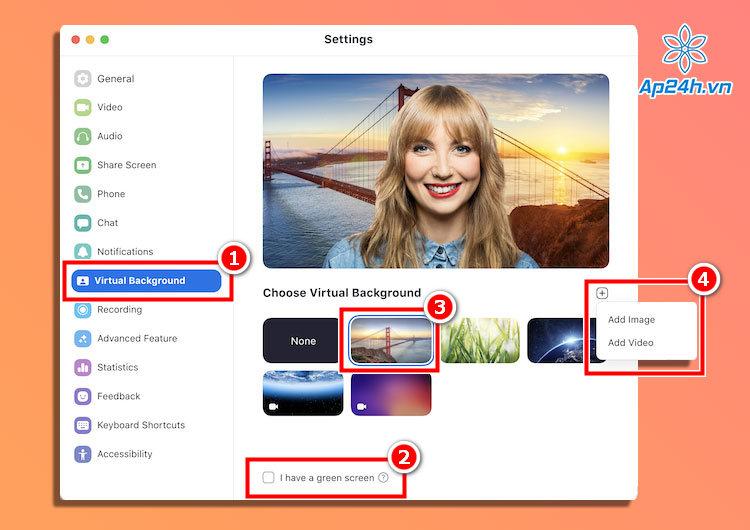 Thiết lập hình nền ảo Zoom trên macOS