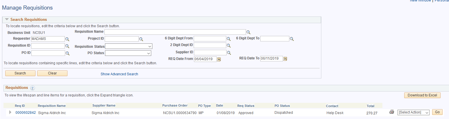 MarketPlace Manage Requisition Page