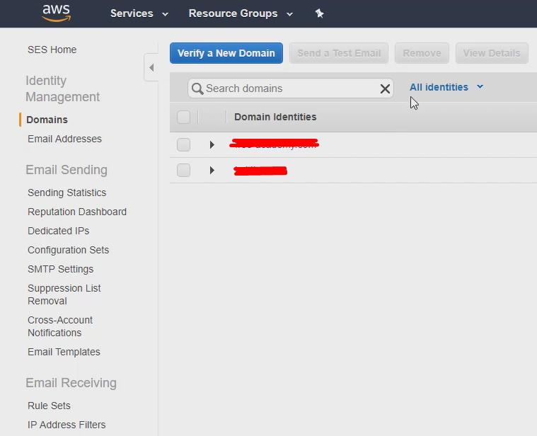 verifying domain in amazon ses
