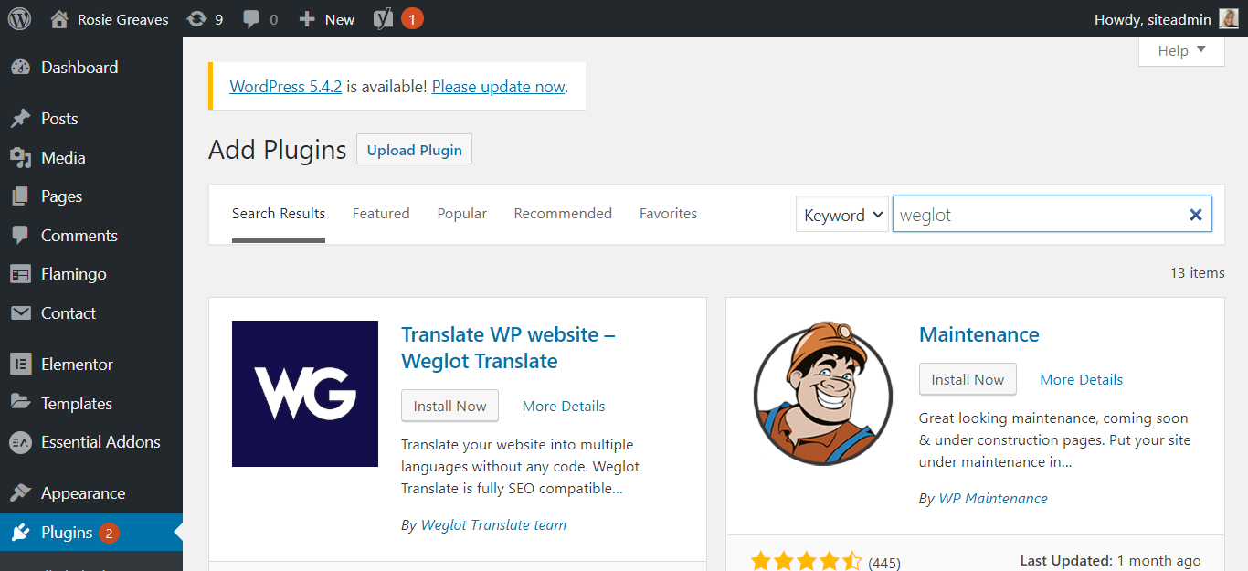Search for the Weglot plugin on WordPress