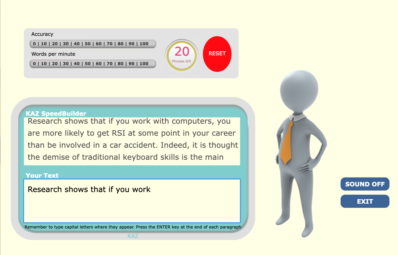 The speed builder module in KAZ typing software