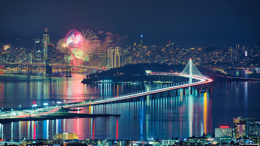 Fireworks above a city on New Year's.
