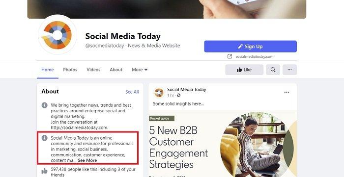 Remoção da história da página do Facebook