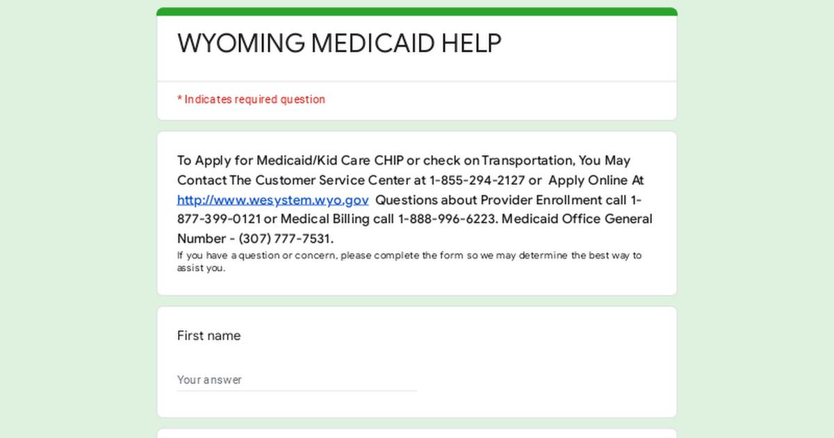 WYOMING MEDICAID HELP
