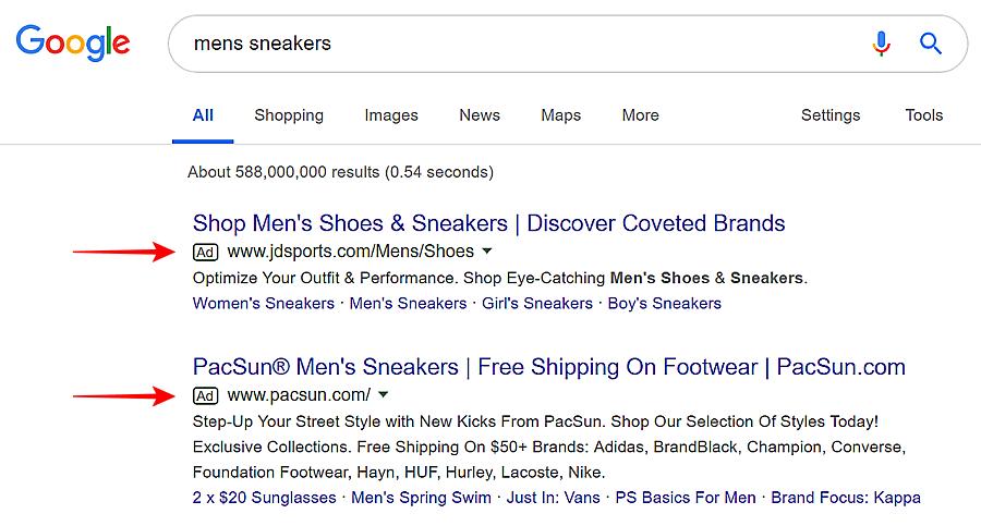 exemplo de anúncio do google adwords