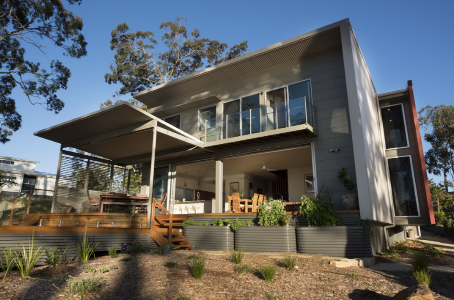 architecturally built home with bushfire controls