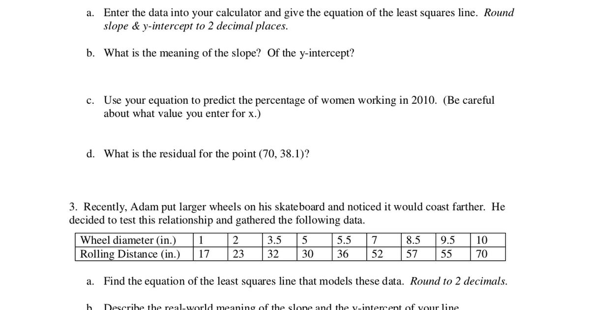 Collection of Linear Regression Worksheet - Androidcellstores