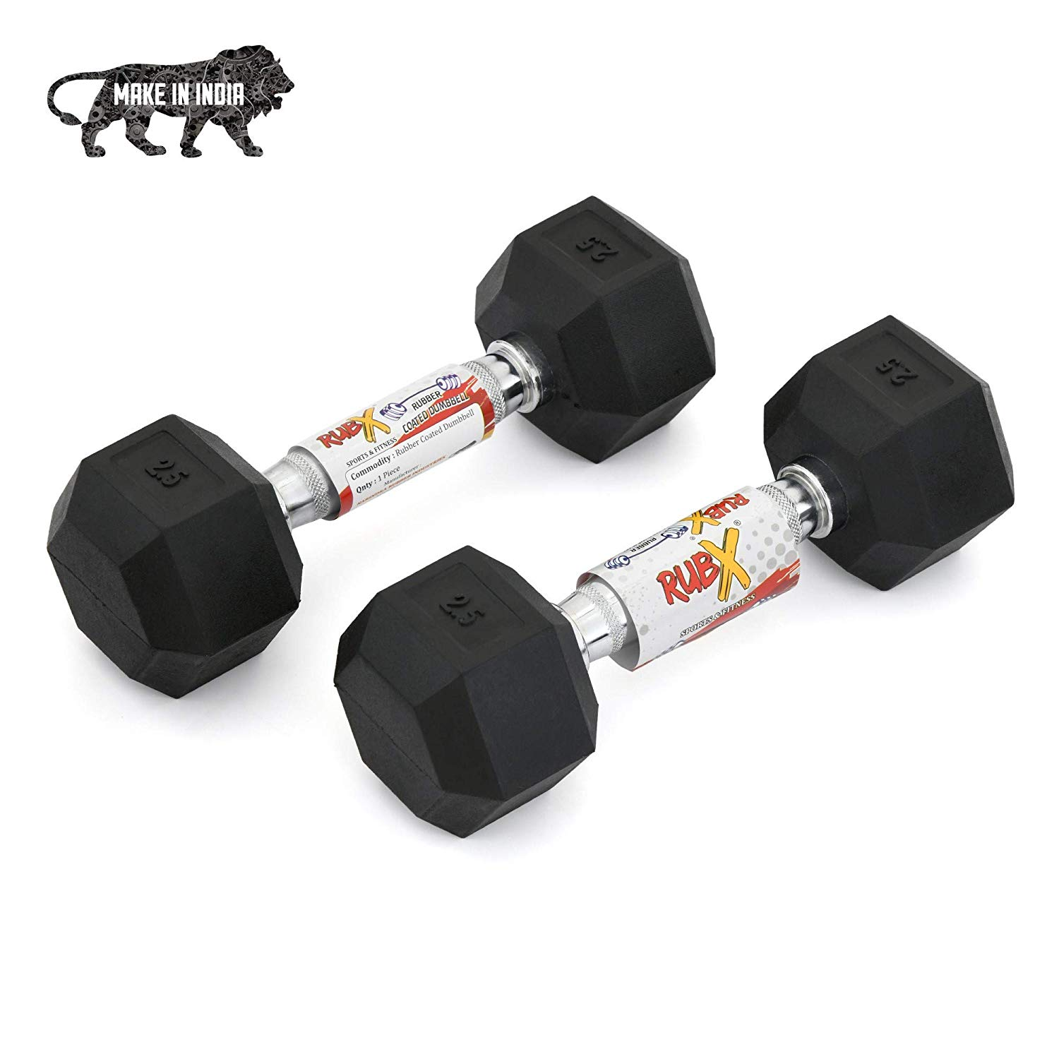 RUBX Professional Exercise Rubber Coated Hex Dumbbells