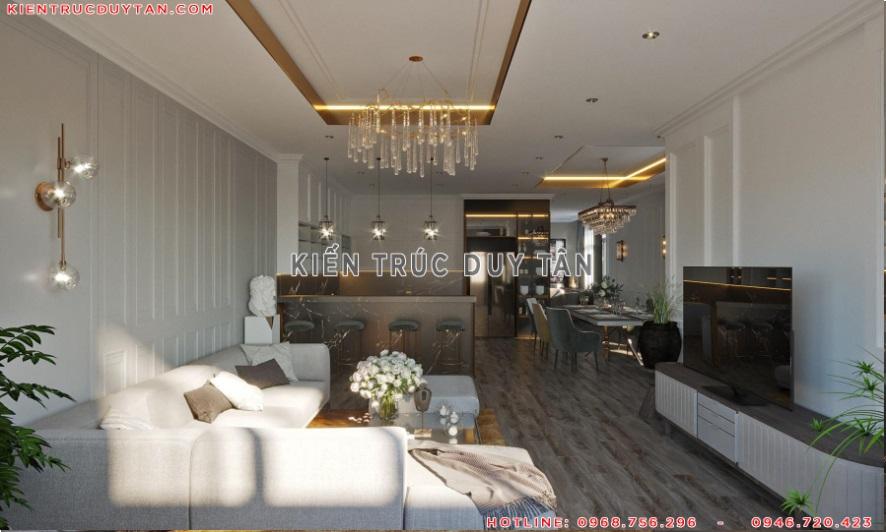 Nội thất phòng khách biệt thự phong cách tân cổ điển