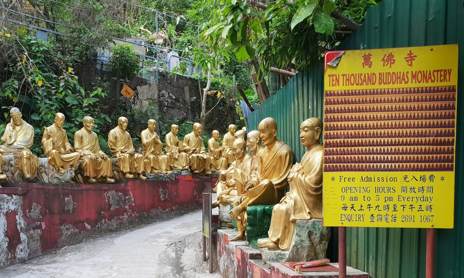 10000 buddhas monastery a side trip while family friendly cycling in Hong Kong