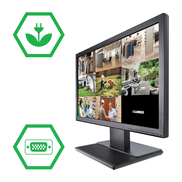 19-inch widesceen LCD monitor included in wireless security system