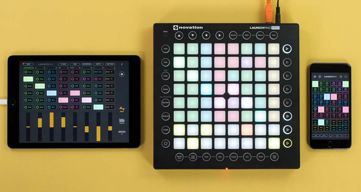 The LaunchPad MIDI shown as an iPad app, hardware, and iPhone app