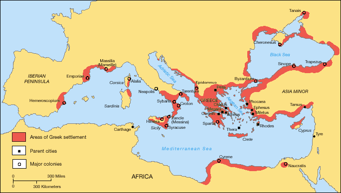 Map of Greek colonization around the shores of the Mediterranean and Black Sea.