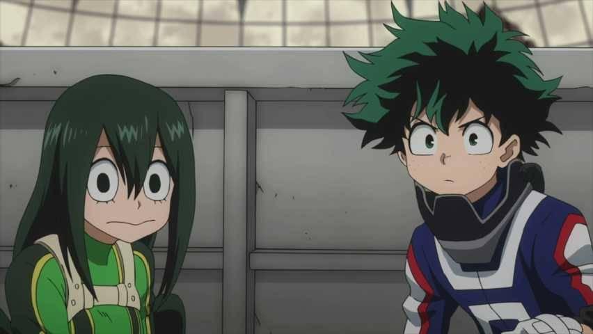 deku and Tsuyu Asui