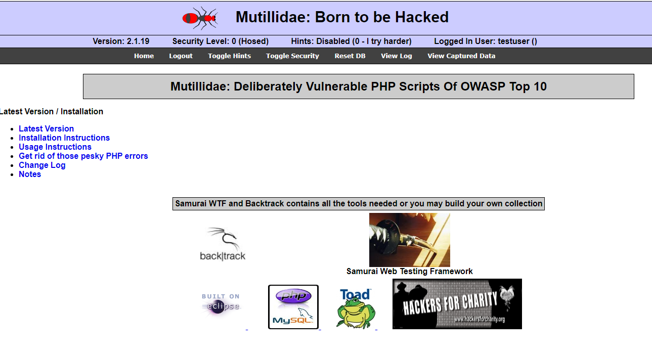 Ettercap Arp poisoning attack [Part 2] - Mutillidae web page. Source: nudesystems.com