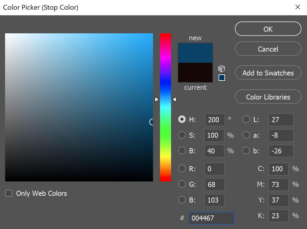 Double-click on the Color swatch to bring out the Color Picker window and select a dark green color for the shadows. Then, press OK to apply.