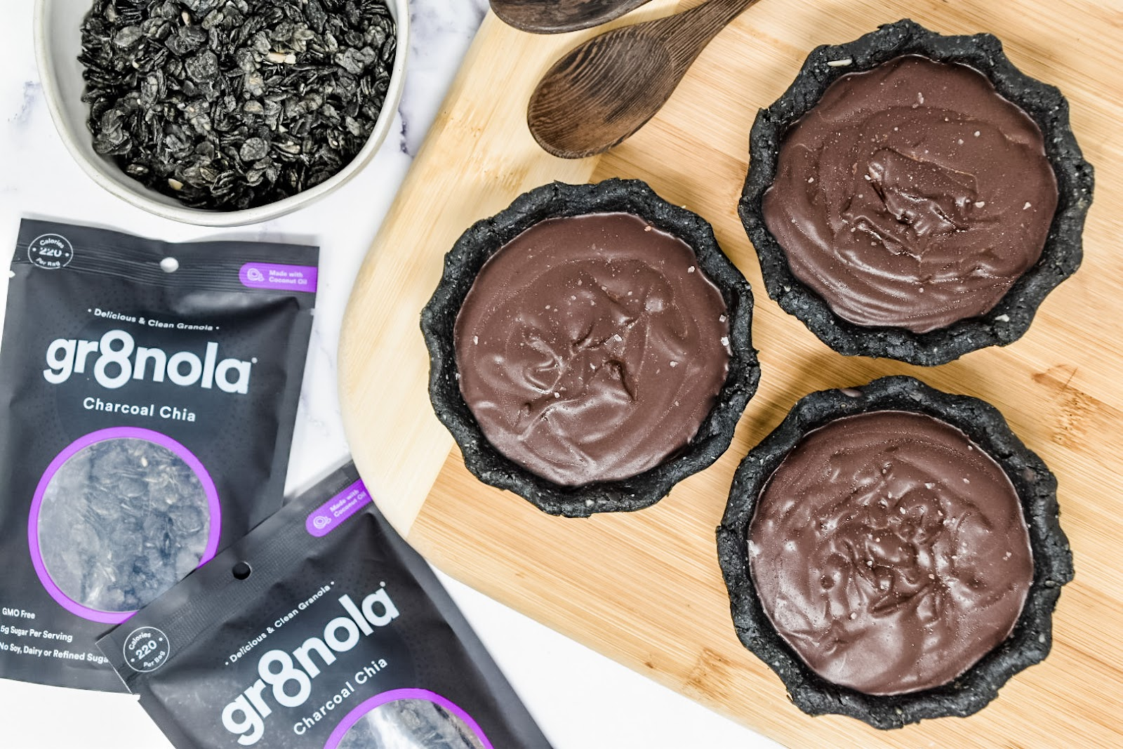 Dark Chocolate Charcoal Tarts