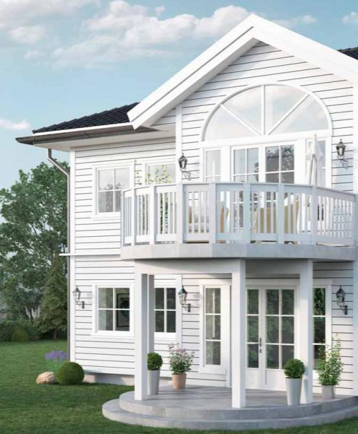 Herskapelig hjem med stor balkong, bygg tradisjonelt hjem i Haugesund, bygg hus Haugesund