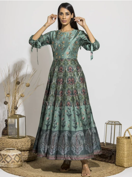 Grassy Green Silk Printed Anarkali Gown