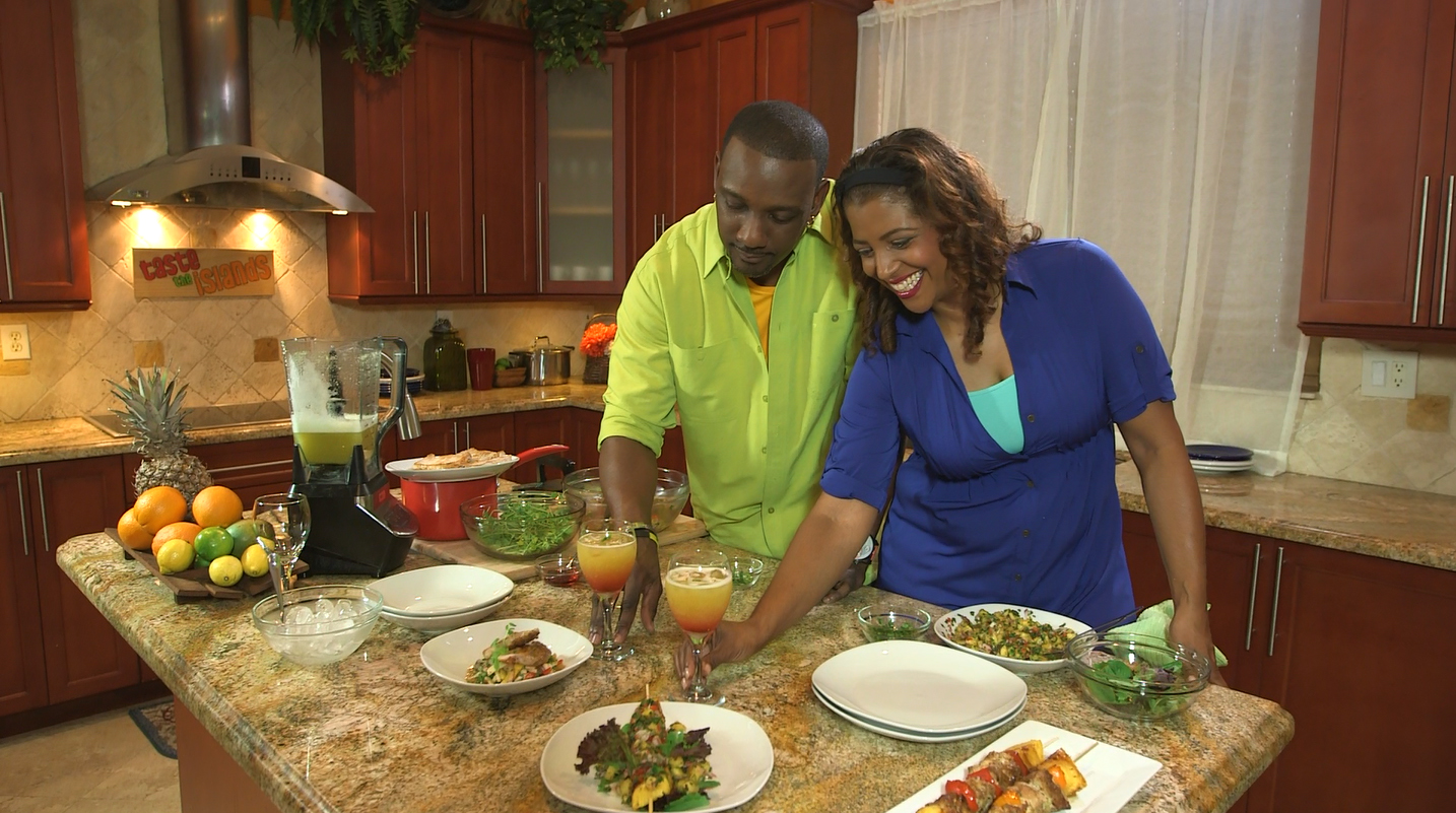 Hugh 'Chef Irie' Sinclair and Cynthia 'Chef Thia' Verna plating a meal (Taste the Islands Episode 208 - Pineapple Expressed) sm.jpg