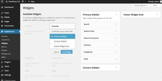 WordPress 3.8 управление виджетами