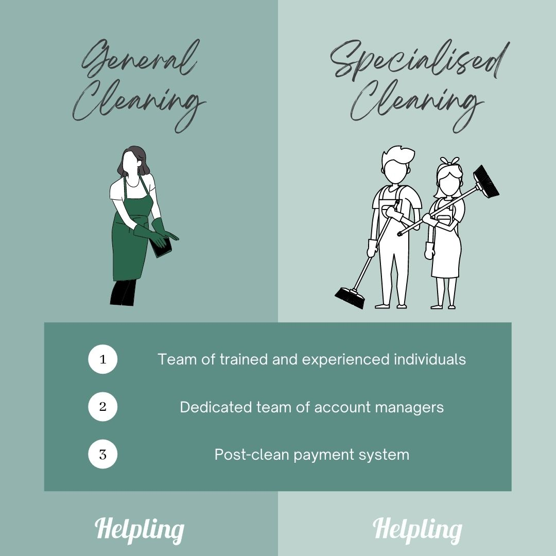 general cleaning vs specialised cleaning - similarities