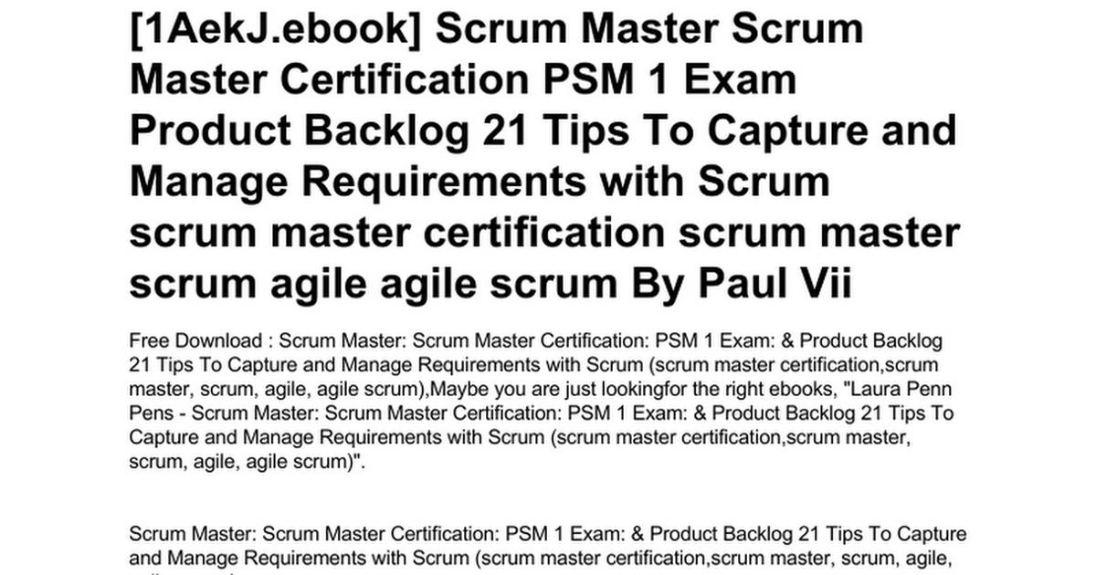 Scrum Master Scrum Master Certification Psm 1 Exam Product Backlog