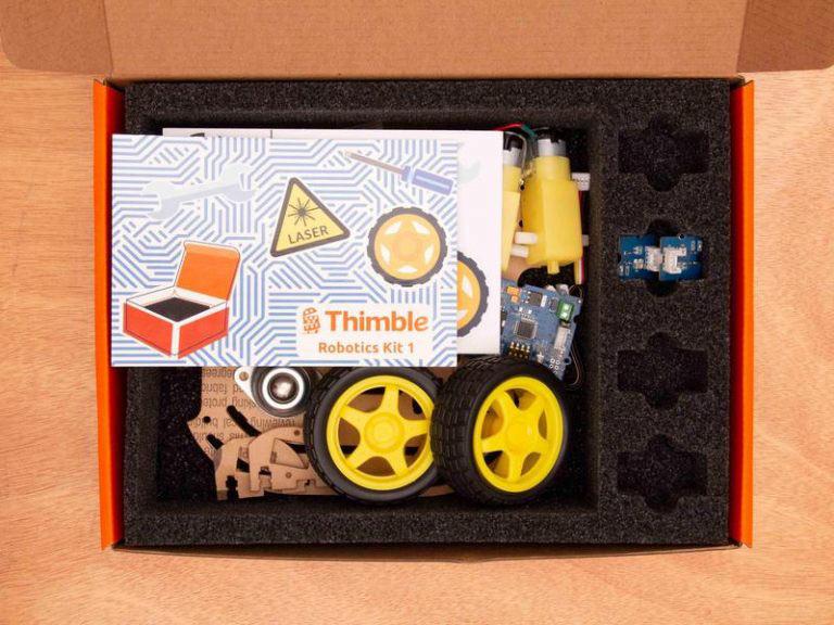 An open box contains one Wifi-<mark><mark><mark>Robot</mark></mark></mark> kit from Thimble.io.