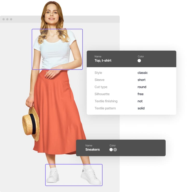 Deep tagging extracts details from all fashion item the girl is wearing