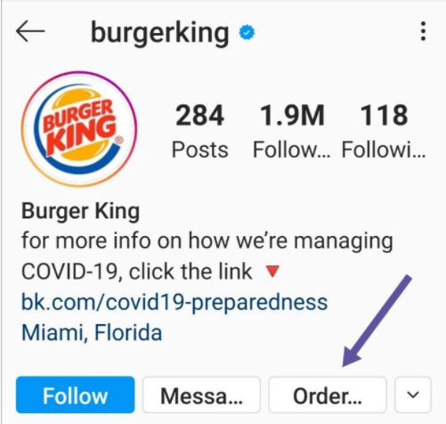 Instagram biography of a well-known food brand.