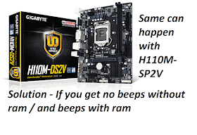 Why is my Gigabyte H110M-DS2V /H110M-SP2V ram error beeping when I insert ram on it  ? Solution