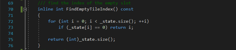 C++ FindEmptyTileIndex for class State in Solving the 8 puzzle problem using A* (star) algorithm