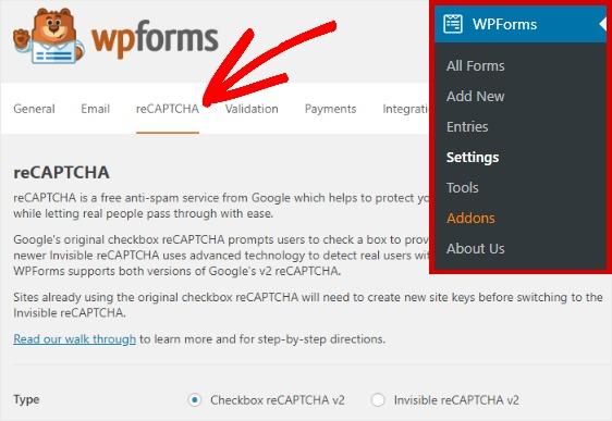 Install recaptcha for wpforms
