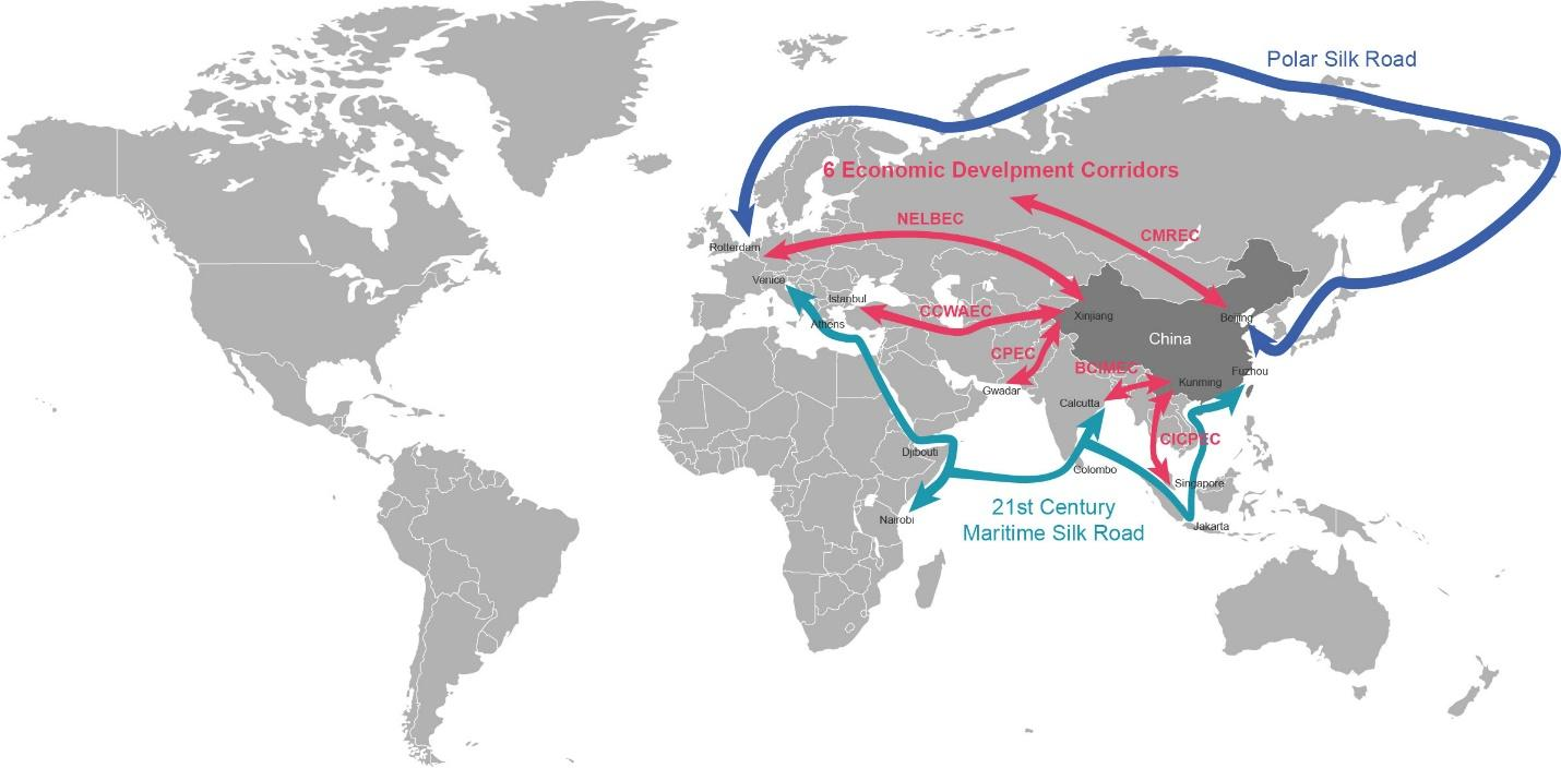 Image result for belt and road map