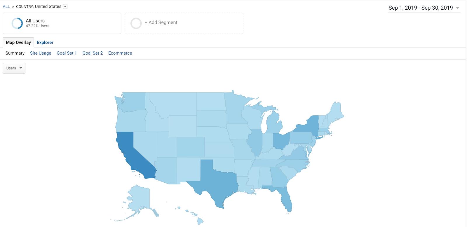 Location metrics in Google Analytics