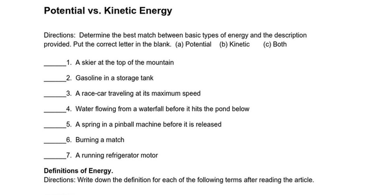 Potential Energy And Kinetic Energy Worksheet - Rringband