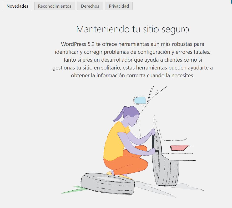 pantalla de bienvenida de la actualizacion de WordPress a la versión 5.2