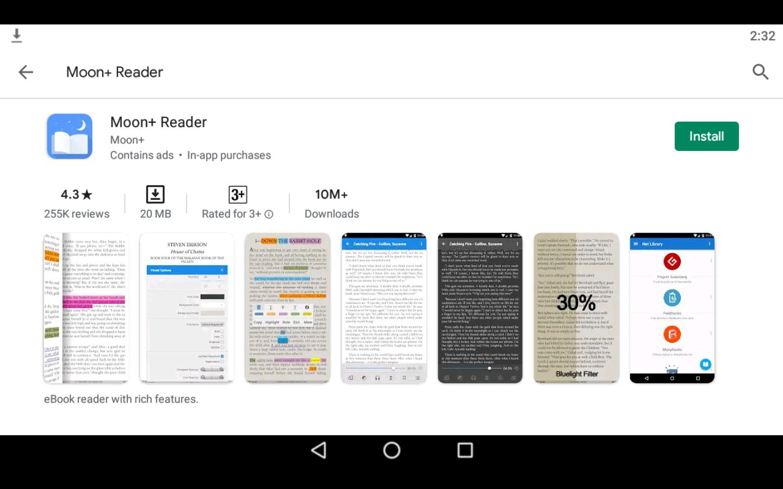 Moon+ Reader app on PC