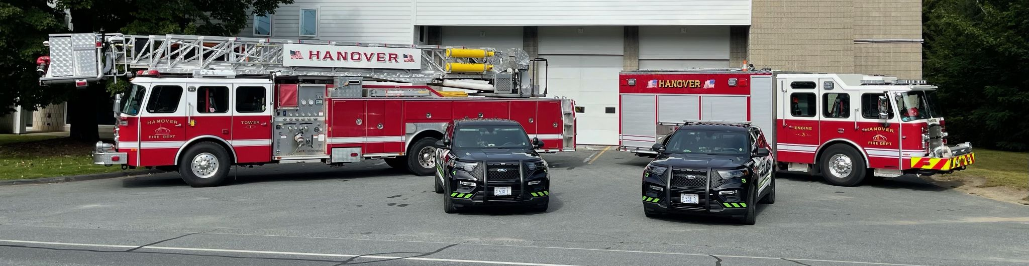 Hanover Fire and Police departments vehicles