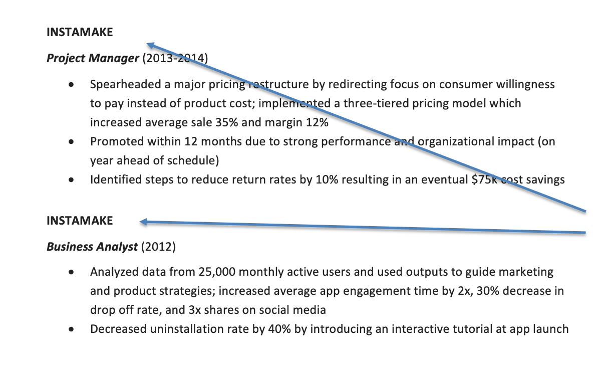 Screenshot of a resume showing a promotion at a company, while being optimized for applicant tracking systems