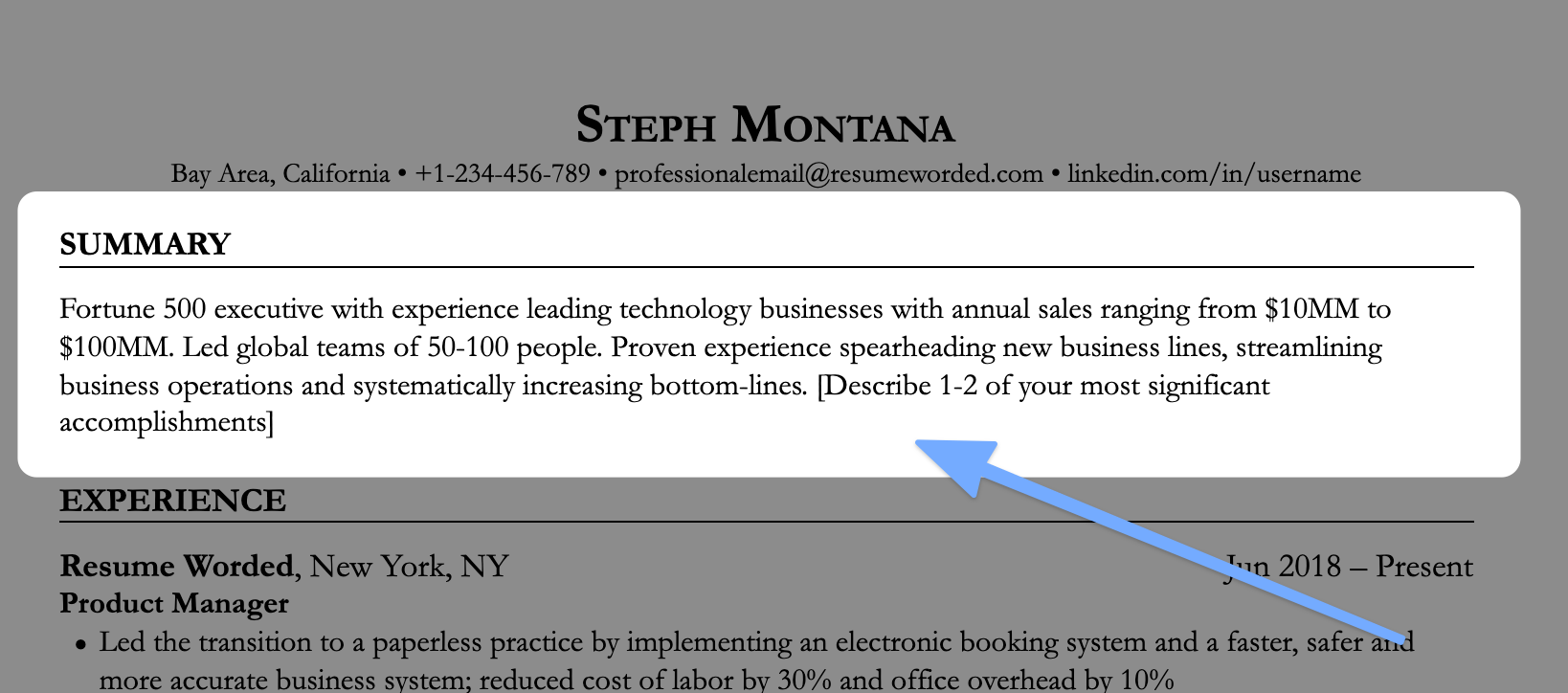 A resume opening statement that highlights specific accomplishments
