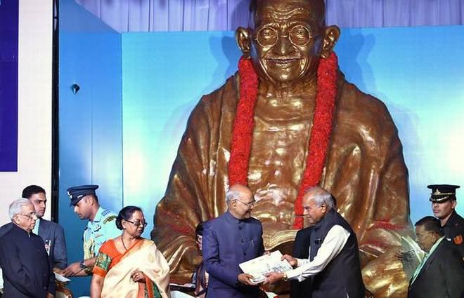 Image result for Mahatma Gandhi's statue opened at Dakshina Bharat Hindi Prachar Sabha