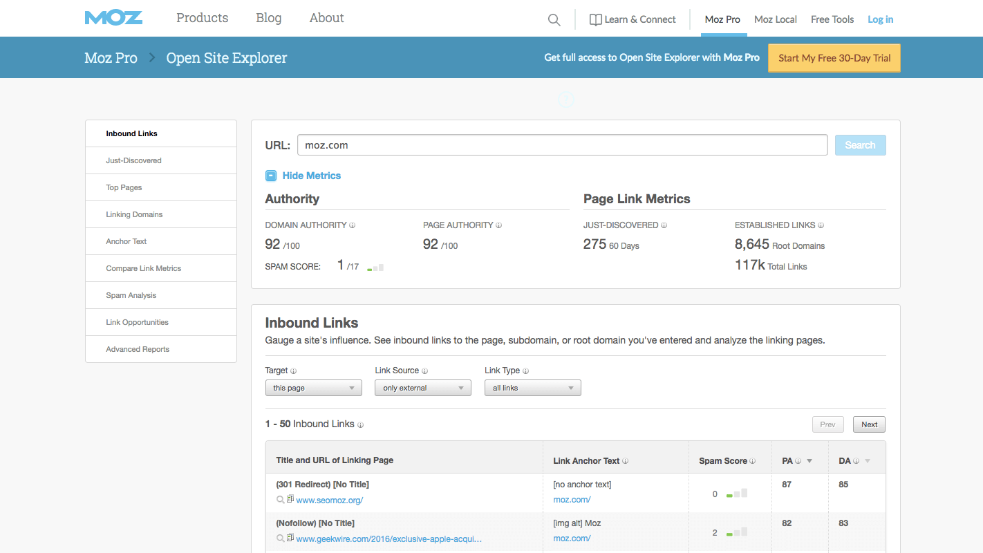 using Moz for competitive analysis