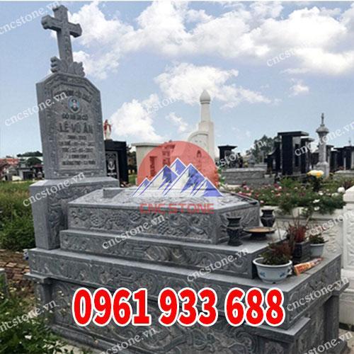 Mẫu mộ đá tam cấp công giáo đẹp