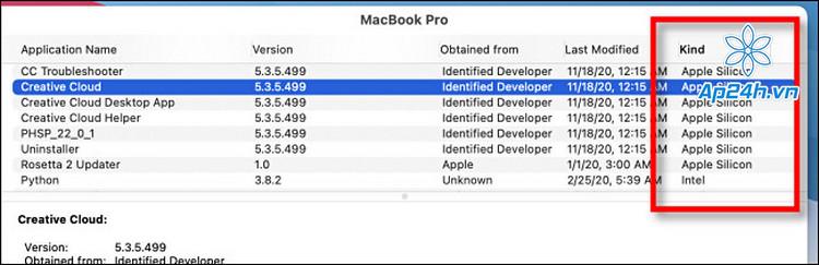Ứng dụng hỗ trợ cho Apple M1 sẽ có dòng chữ Apple Silicon