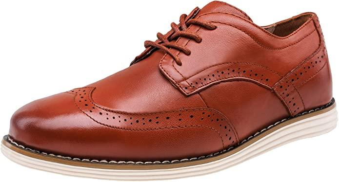 Jousen Men's Dress Shoes Leather Business Casual Brogue Wingtip Oxford Shoes Shoes for Men