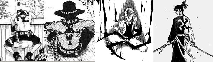 Obras como Blade of the Immortal, Yuyu Hakusho ou até mesmo em grandes nomes atualmente como Naruto, One Piece e Bleach apresentam o manji.