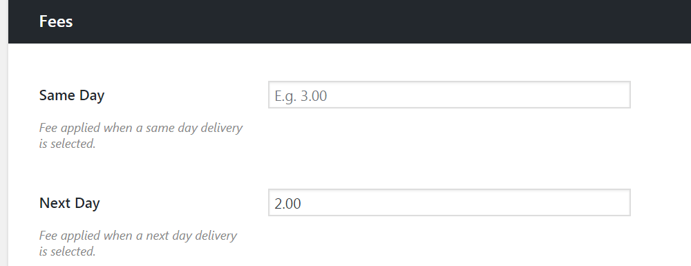 delivery fees woocommerce